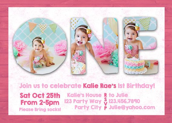 Photoshop Template First 1st One Birthday Invite Invitation Card