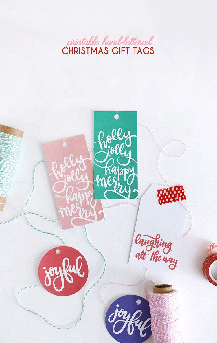 Hand Lettered Free Printable Christmas Gift Tags | Christmas ...