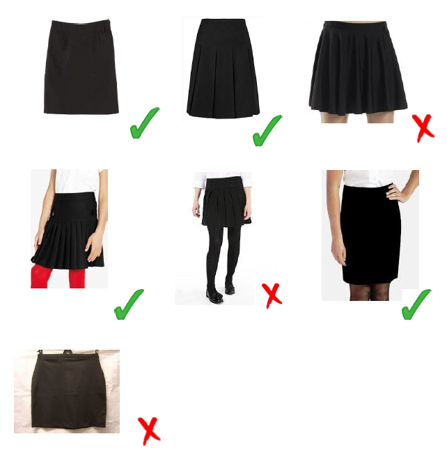 Girl's plain black formal #school_uniform_skirt (Knee Length ...