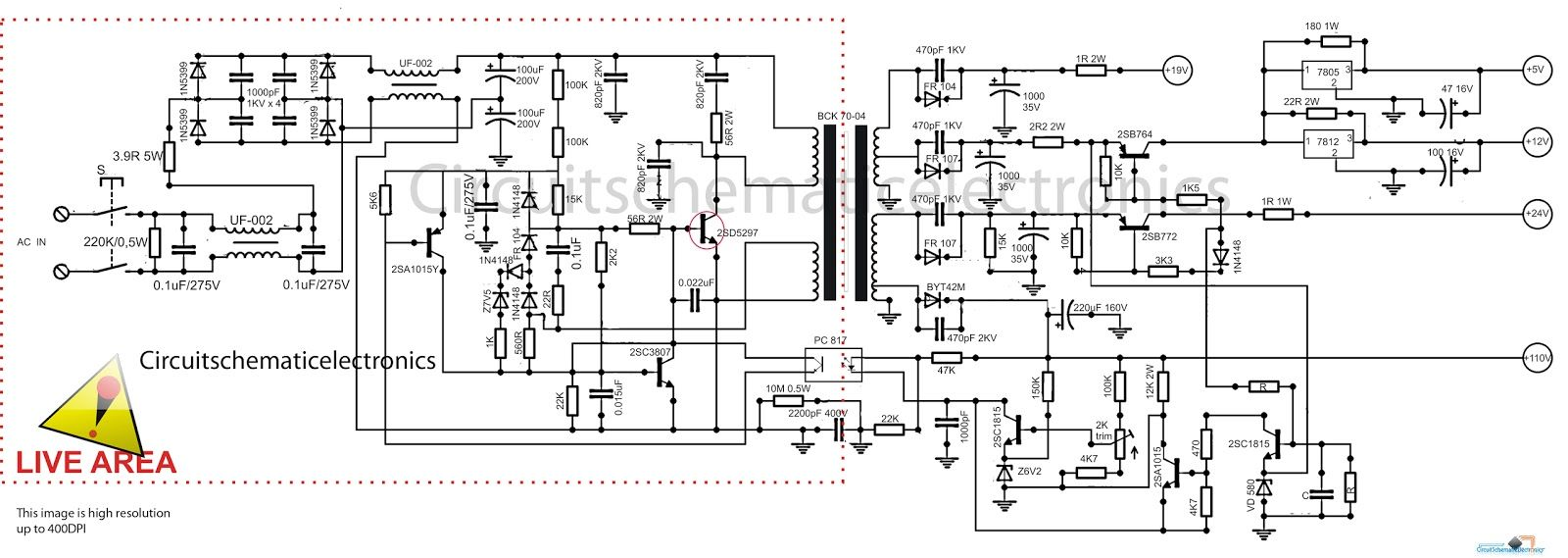 Switching power suplly for color television circuit