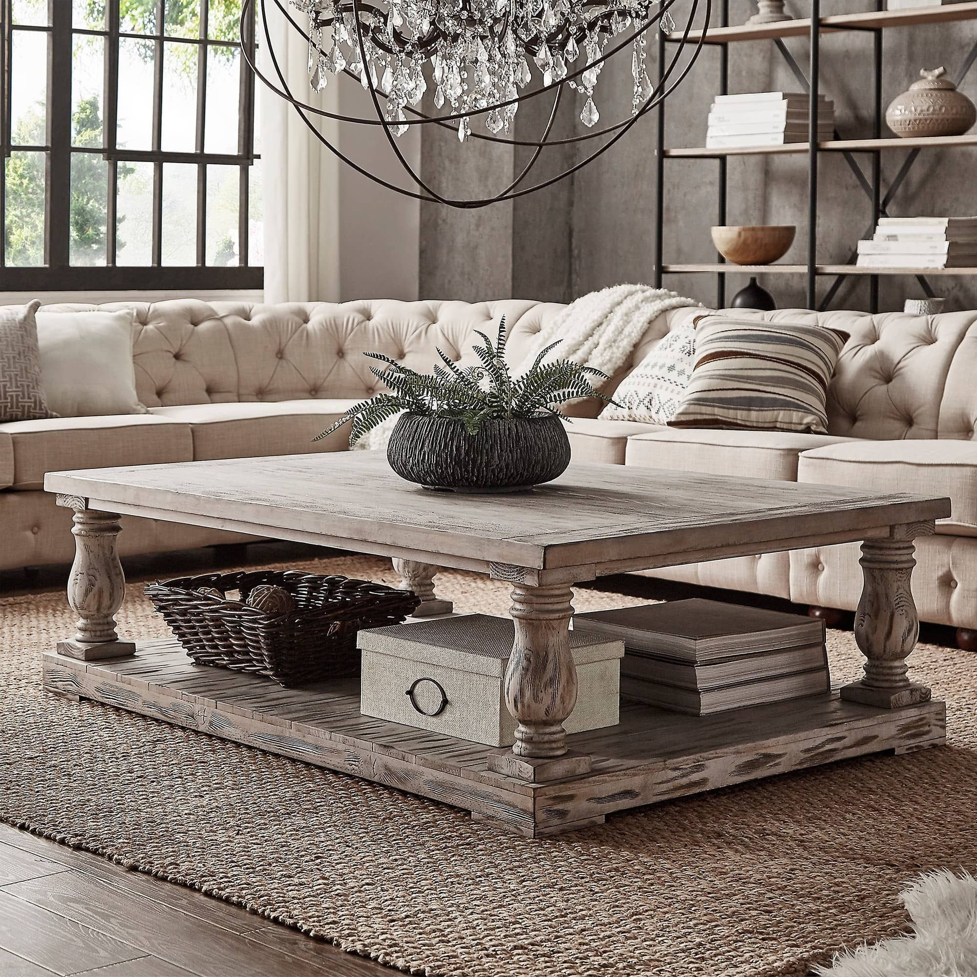 9 Awesome Living Room Design Ideas: Edmaire Rustic Baluster 60-inch Coffee Table By INSPIRE Q