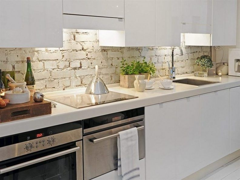Kitchen Backsplash Ideas With White Cabinets L Shape Cabinet Brown Granite Countertop Rectangle Black Sink Stylish Stool