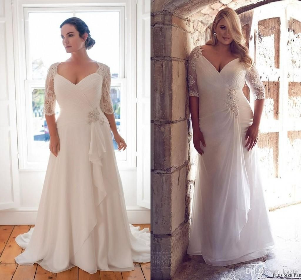 Vintage plus size wedding dresses with half sleeve custom make