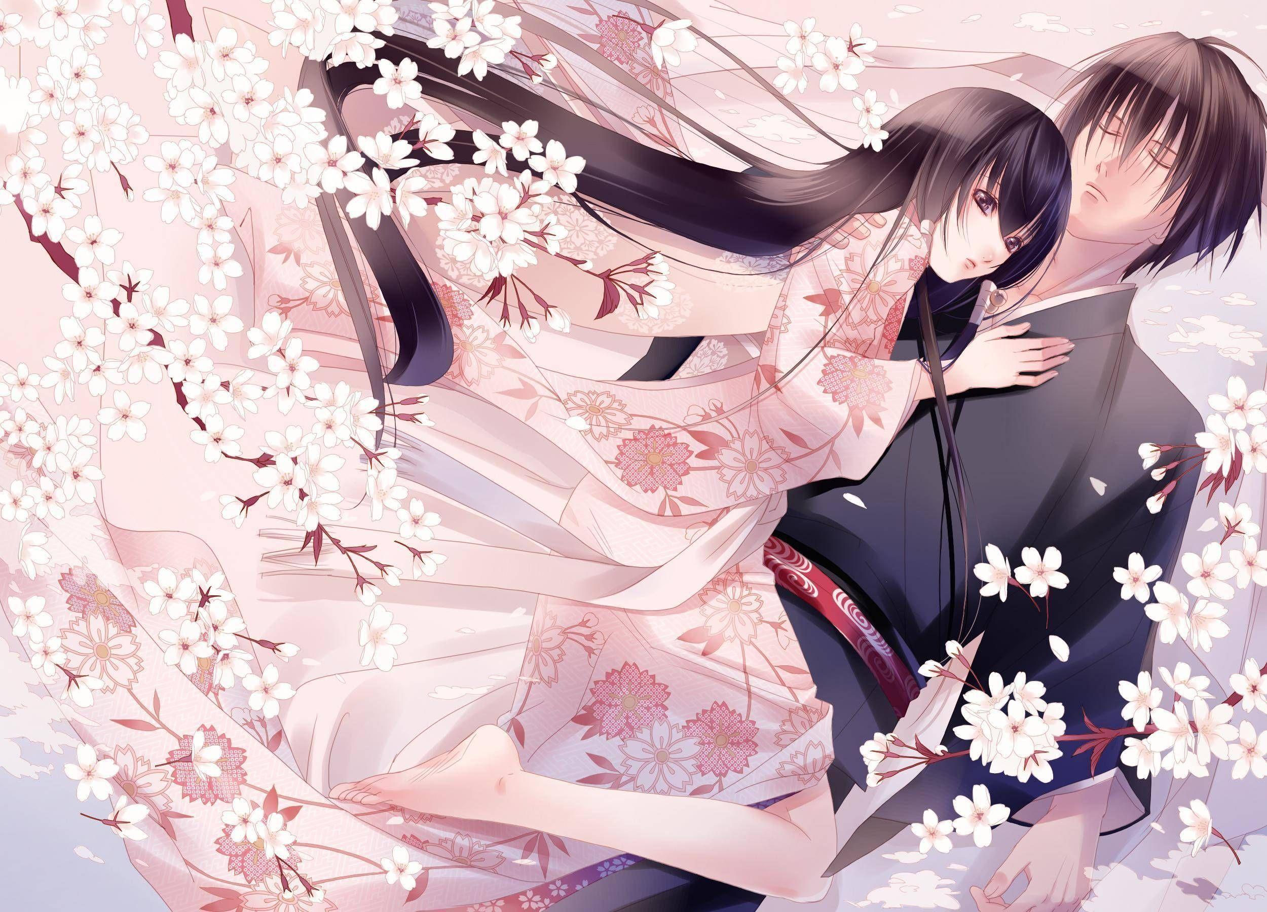 Anime Girl In Yukata Beautiful Couple Anime Manga Wallpaper