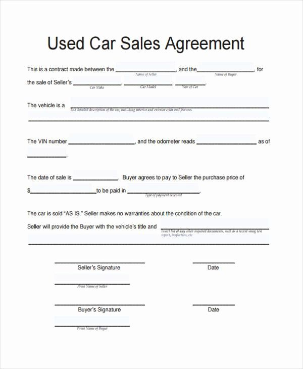 Contract For Selling A Car Unique Contract Forms In Pdf Sell Car Cars For Sale Used Contract Template