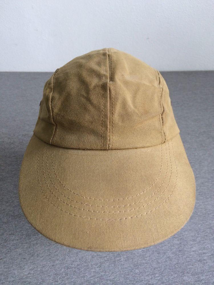df1d11a6b76 Vtg C.C. FILSON Long Bill Hat TIN CLOTH Outdoor Fishing Cap DUCK Rare Med  22 1 8  Filson  BaseballCap