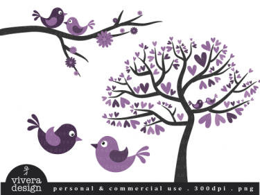 Love Birds In Purple Clip Art Instant Download By Vivera Design