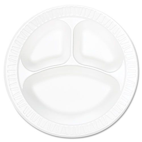 Dart 10cpwc Concorde 10 1 4 Inch Diameter White Non Laminated 3 Compartment Foam Plate 125 Pack Case Of 4 Plastic Plates Classic Dinnerware Plastic Dinnerware