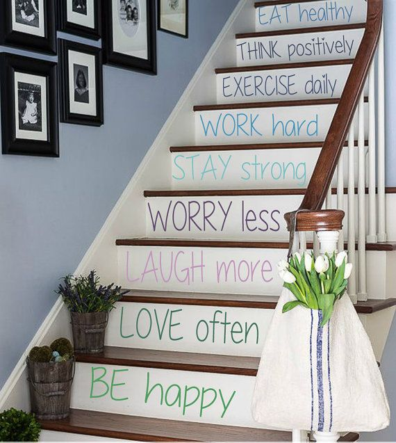 Free Shipping Wall Decal Quote Be Happy Staircase Stairway Stairs Stair Riser Decals Home Vinyl Sticker Living Stair Decor Stairway Decorating Staircase Decals