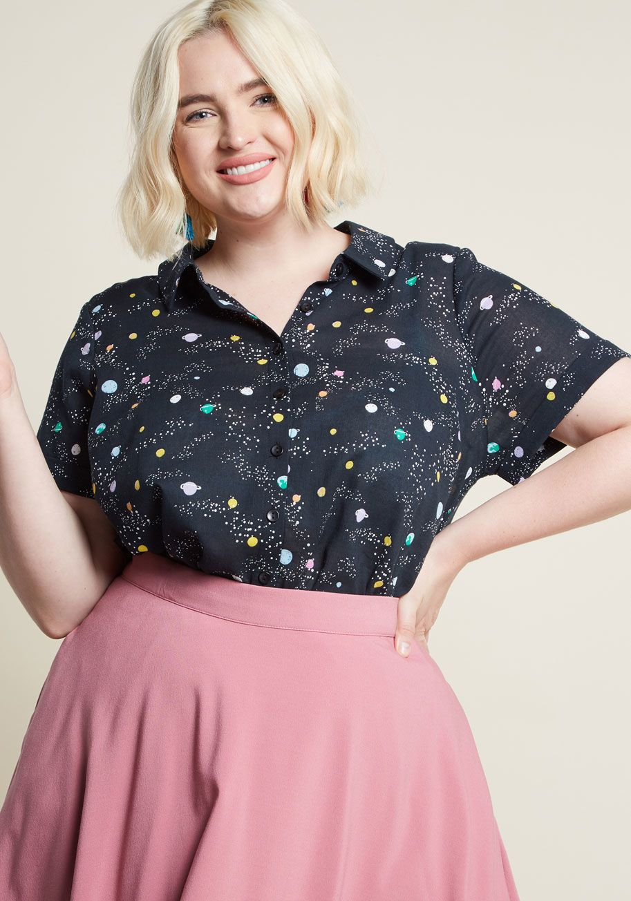 3804a7f3dd7 Inspired Idealist Button-Up Top in Planets