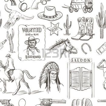 Saloon western main wild west attir e seamless revolvers - Dessin saloon ...