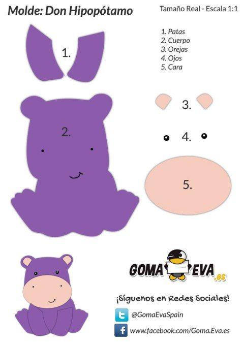 Molde-Hipopótamo | moldes | Pinterest | Hipopótamo, Molde y Goma eva