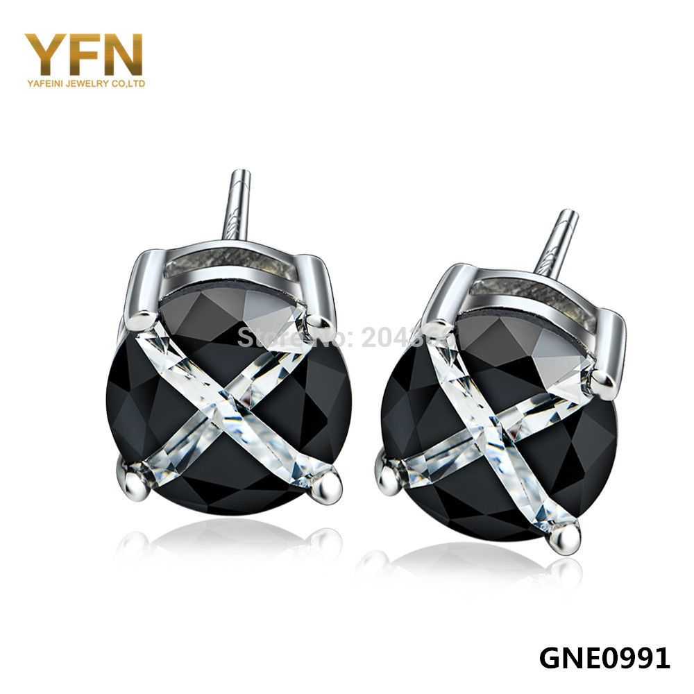 accessories from aliexpress small alibaba pair earrings black plain simple studs on item round in com cute crystal stud top jewelry quality