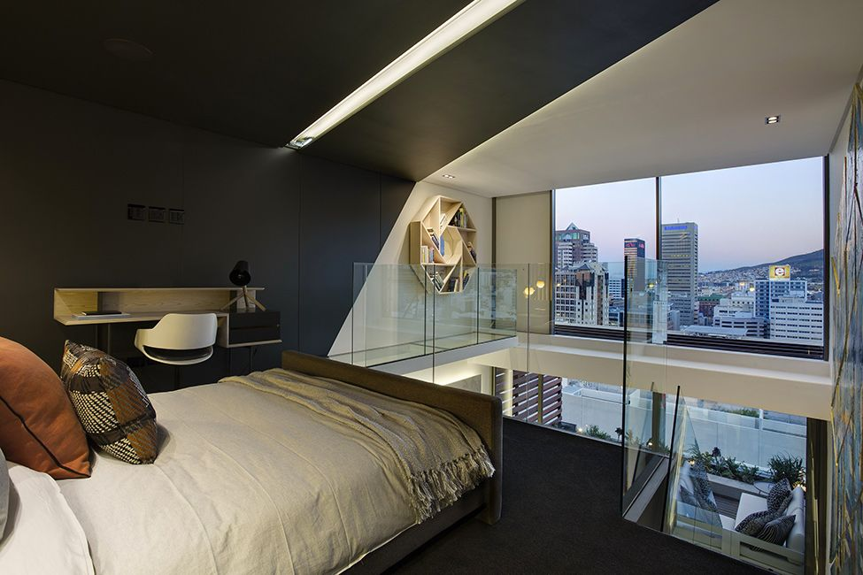 Bedroom with the view in small apartment by saota de waterkant cape town