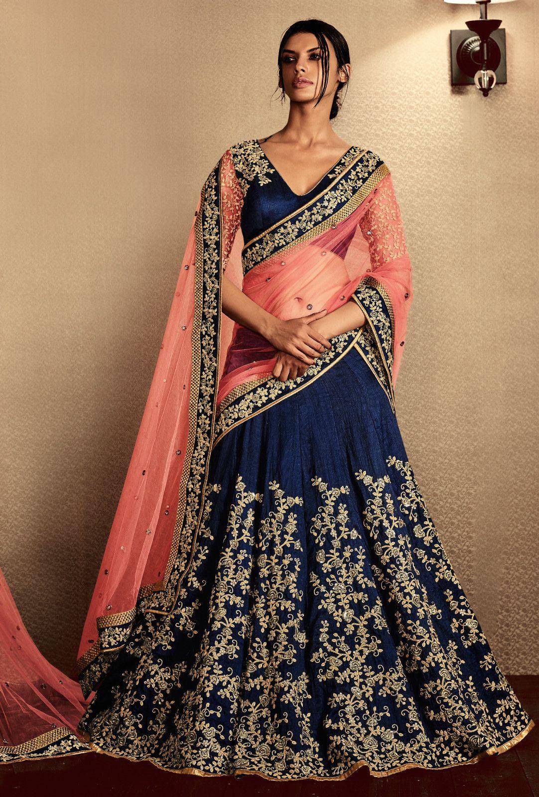 Astounding Navy Blue Cotton Designer Lehenga Choli Bridal Wedding Wear Suit Online From India With Free Worldwide Shipping Offer