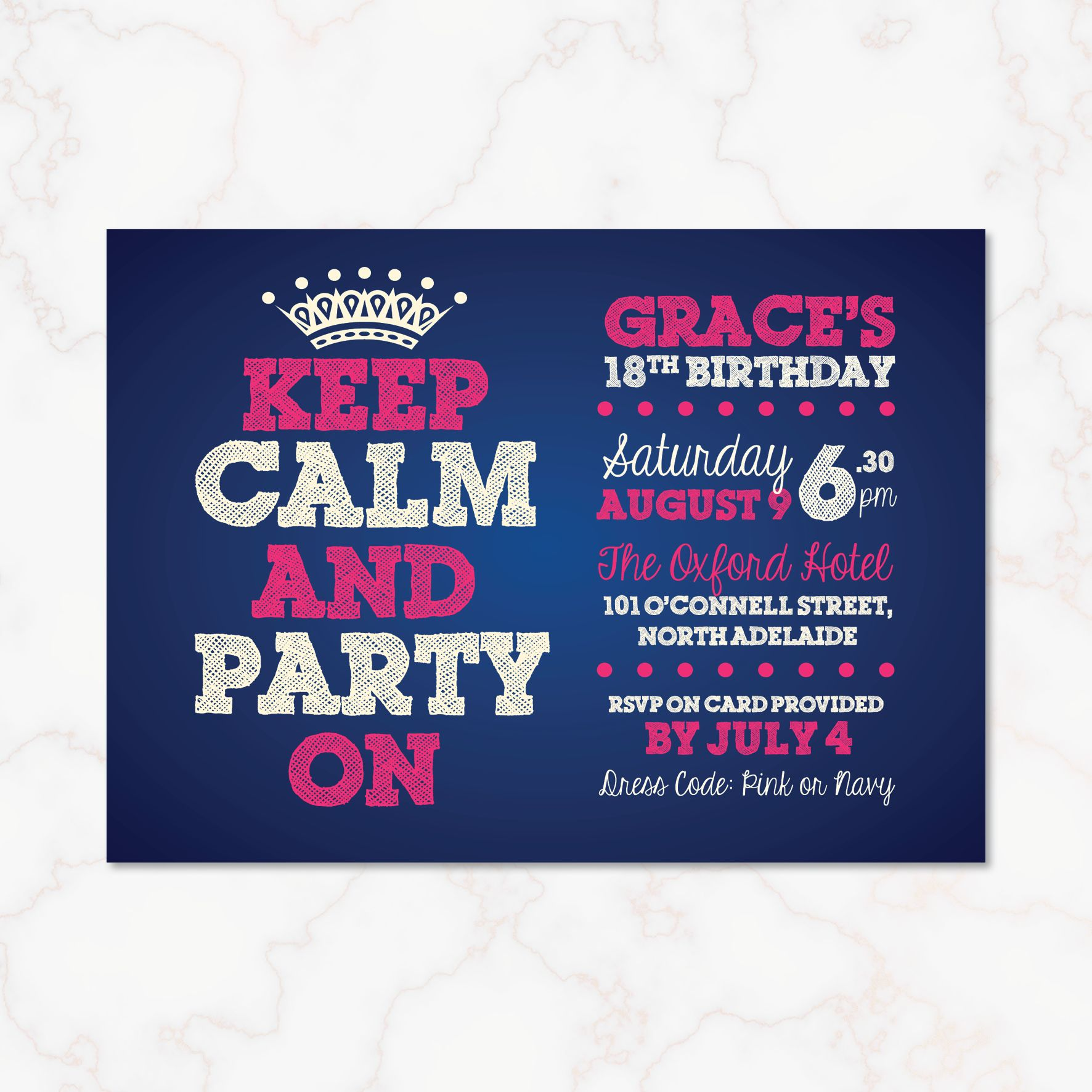 Keep calm birthday invitation its time to party with this navy keep calm birthday invitation its time to party with this navy and pink birthday invitation filmwisefo