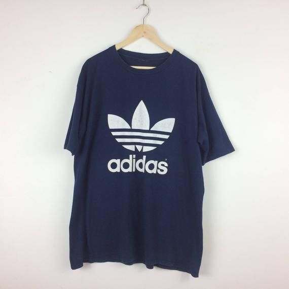 da36271d1cda6 Vintage Adidas Trefoil Shirt / Big Logo Double Sided Print Shirt ...