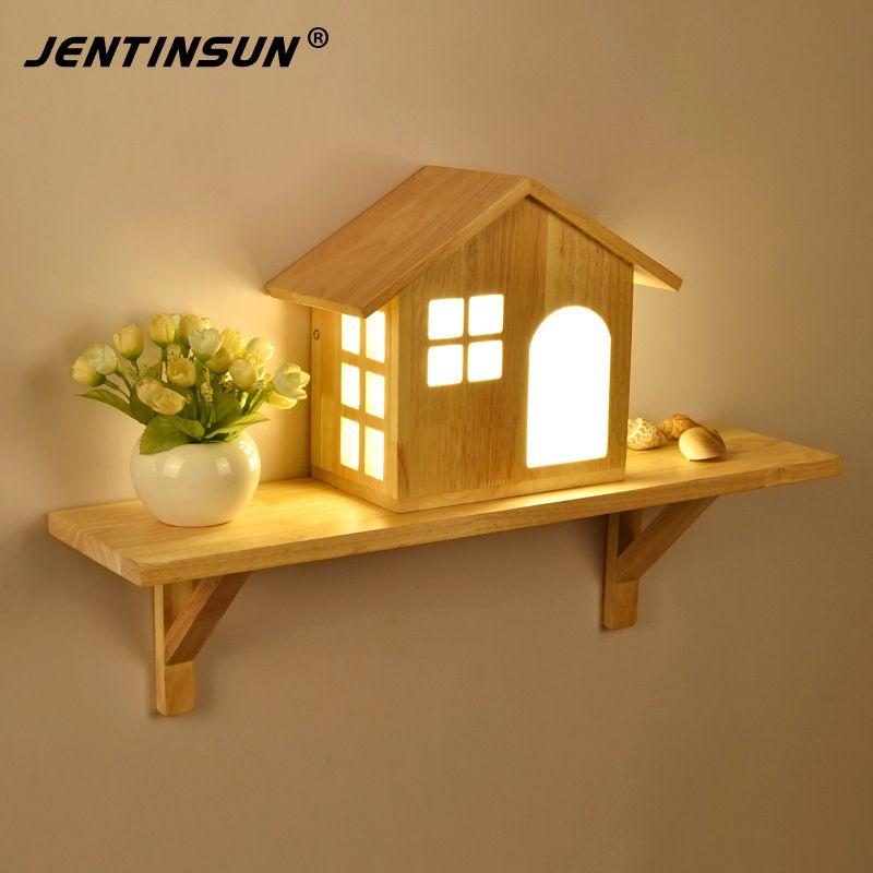 Pas cher nordique creative simple maison led solide lampe de mur en bois petite maison tag re - Petite maison bois pas cher ...