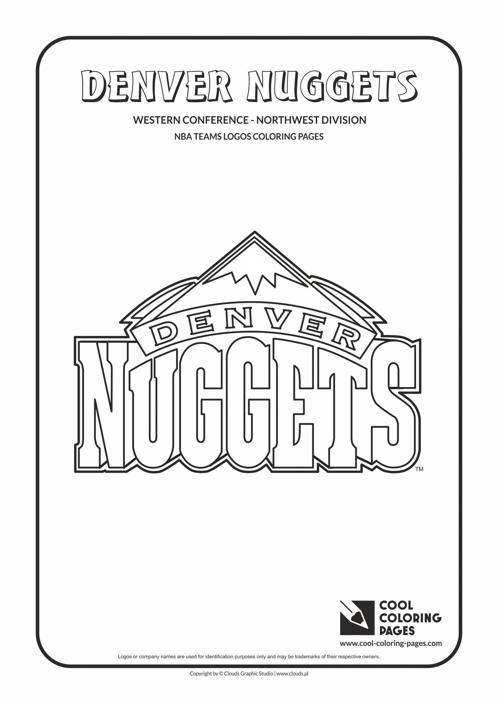 Denver Nuggets Nba Basketball Teams Logos Coloring Pages Cool