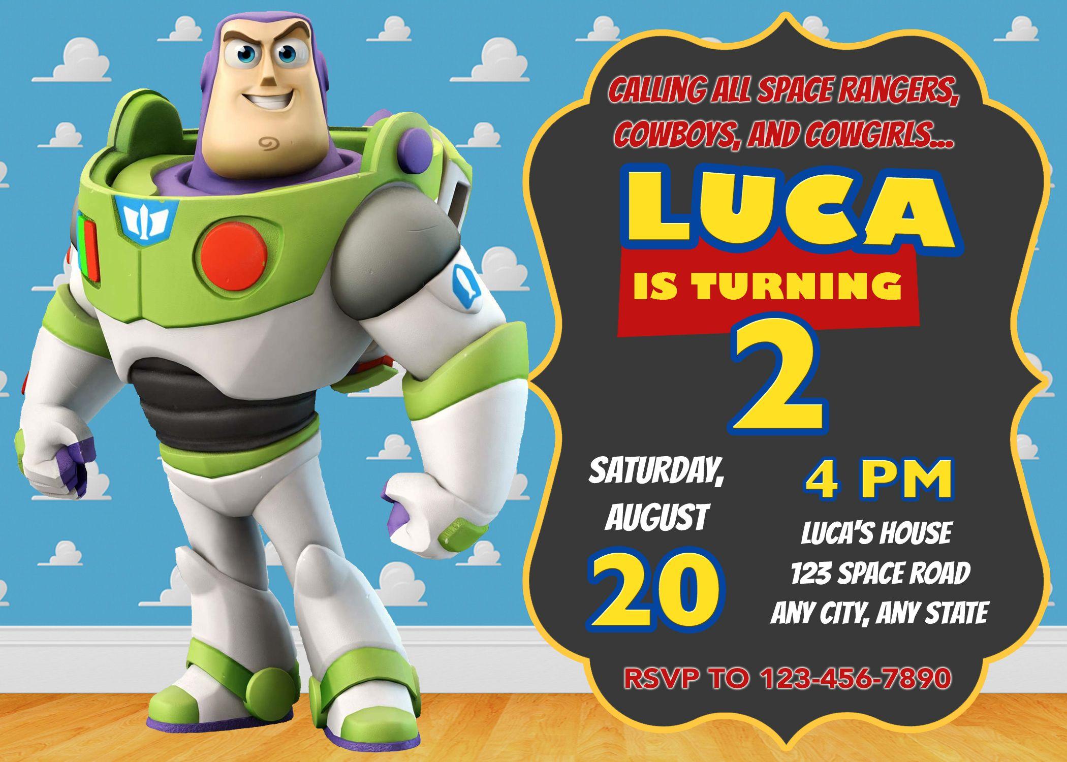 Buzz Lightyear Invitation Toy Story Invitation Toy Story Invite