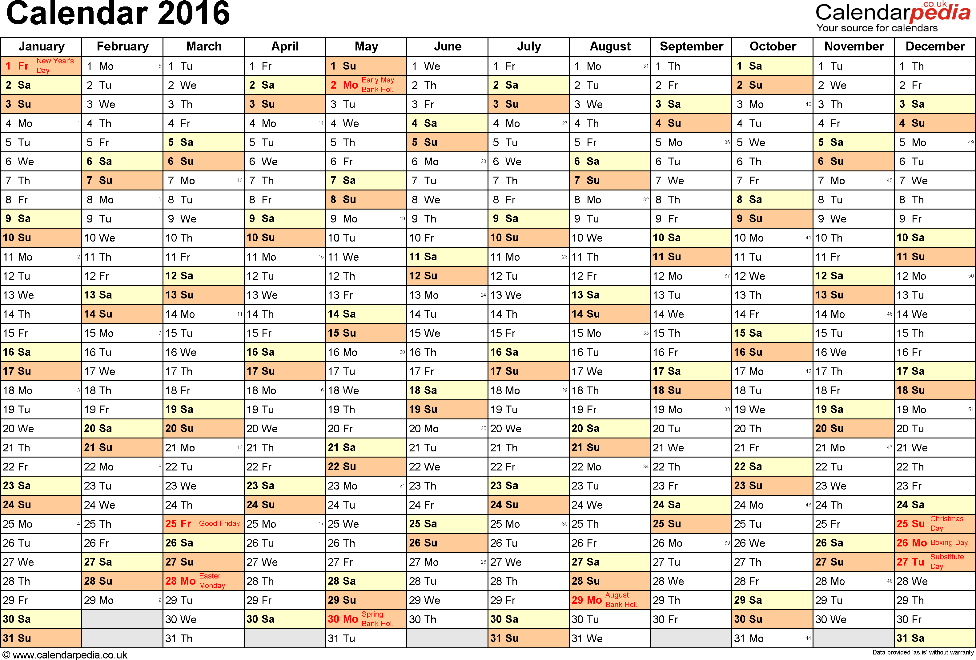 template 2 yearly calendar 2016 as pdf template landscape