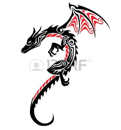 dragon tribal tattoo Stock Vector
