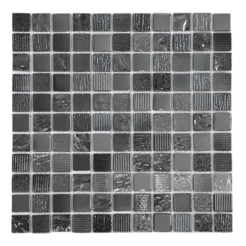 Mosaique Mur Glossy Noir 2 5 X 2 5 Cm Mur Mosaique