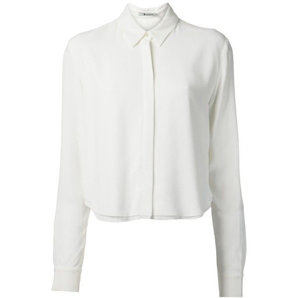 T BY ALEXANDER WANG crepe cropped shirt (6 415 ZAR) ❤ liked on ...
