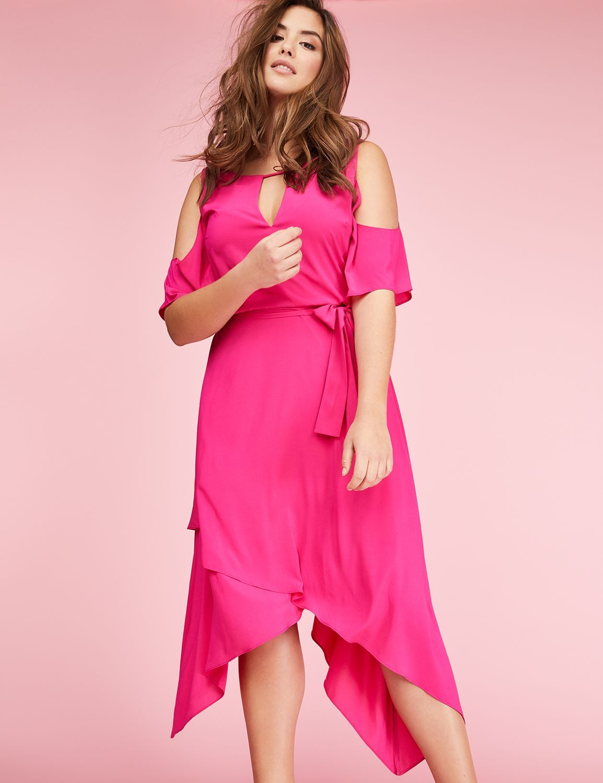 ColdShoulder Sharkbite Maxi Dress Maxi knit dress, Plus