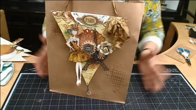Gift Bag Banner with Julie Nutting  on Live with Prima. Love how she used her banner paper pad to decorate the bag..#livewithprima #julienutting #giftbag #dolls #stamp #prima