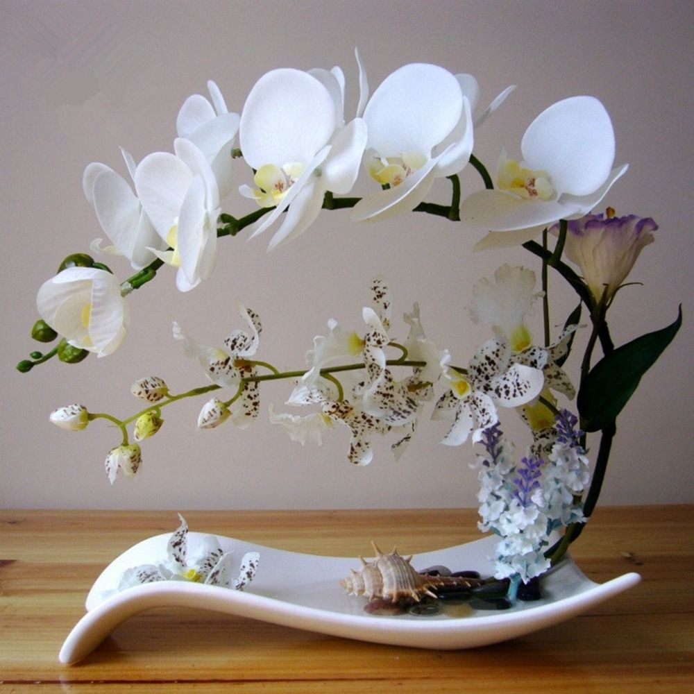 Itemship Artificial Flower Arrangement Unique Fresh Art Butterfly Orchid Decorate With Pot Artificial Flower Arrangement(China (Mainland))
