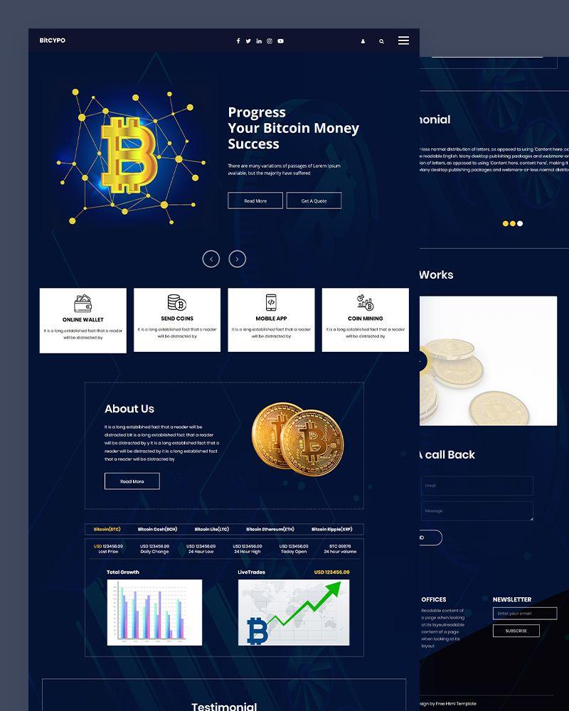 Bitcypo Bitcoin HTML Template in 2020 Psd templates