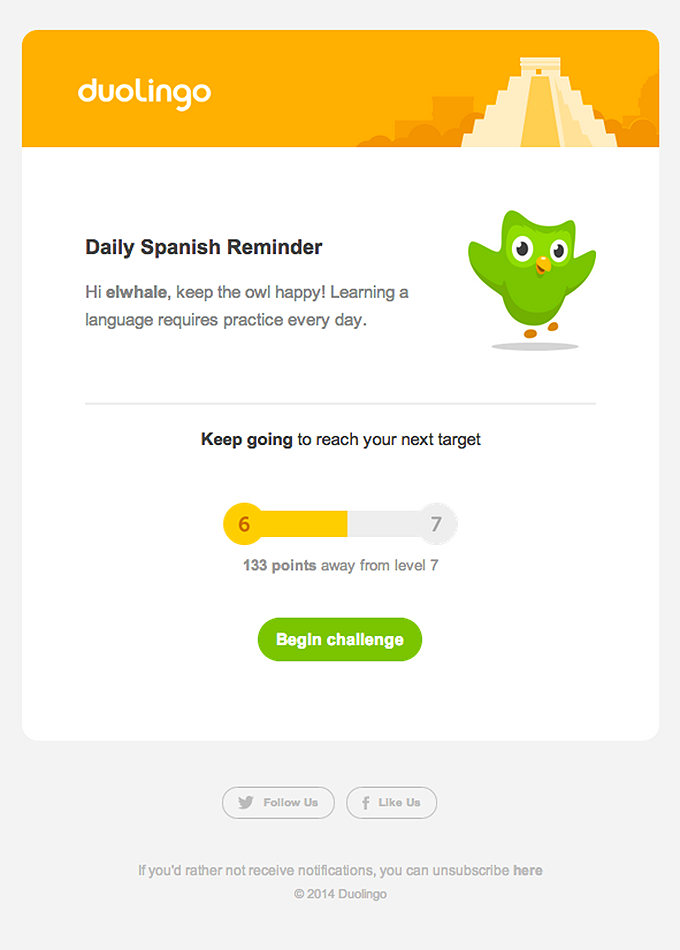Daily Reminder Email Design from DuoLingo Really Good