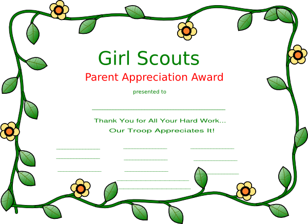 Girl scout certificate templates girl scout clip art for Girl scout calendar template