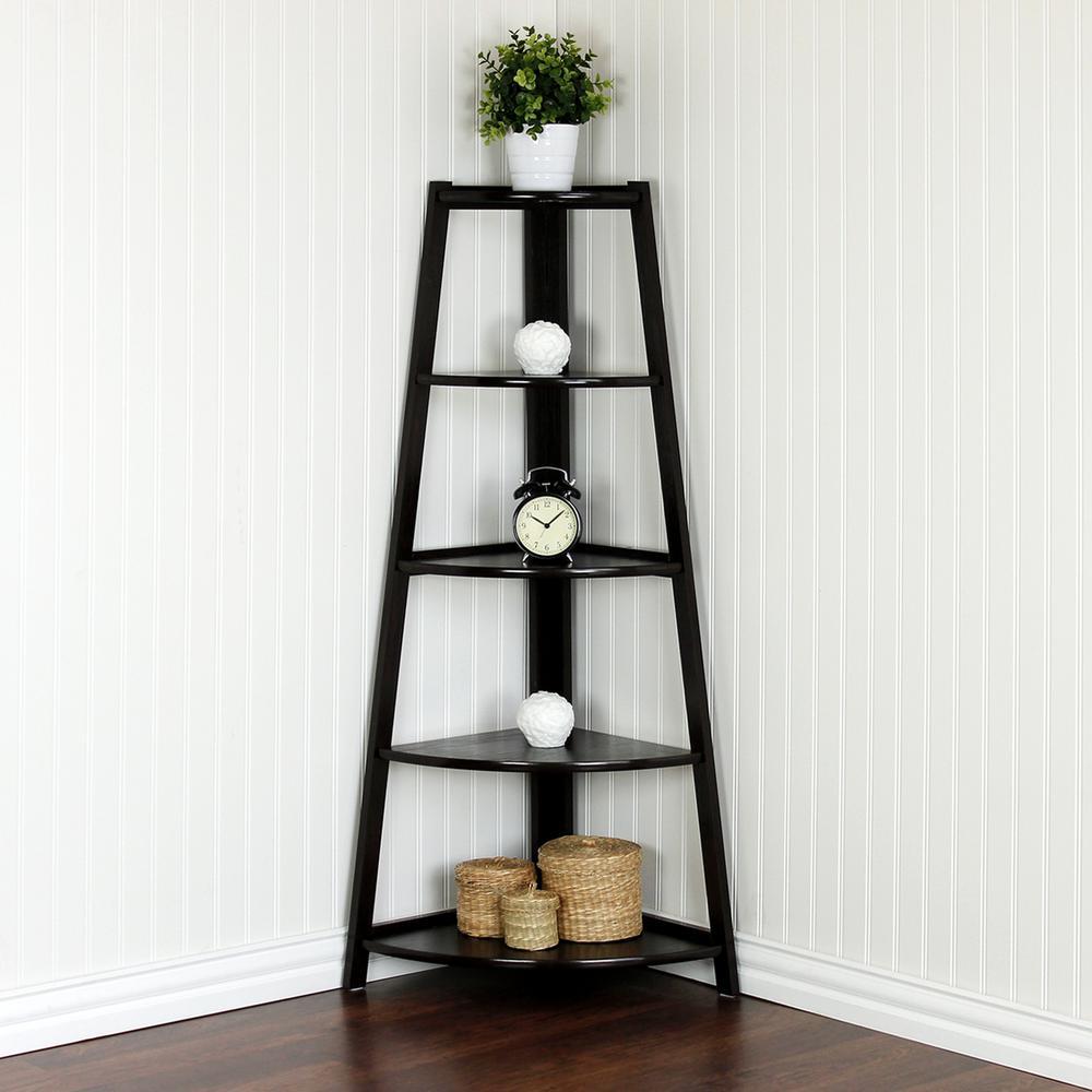 Furinno Yaotai Cherry Corner Ladder Shelf Fnaj 11112ex Wall Mounted Corner Shelves Corner Ladder Shelf Wooden Corner Shelf