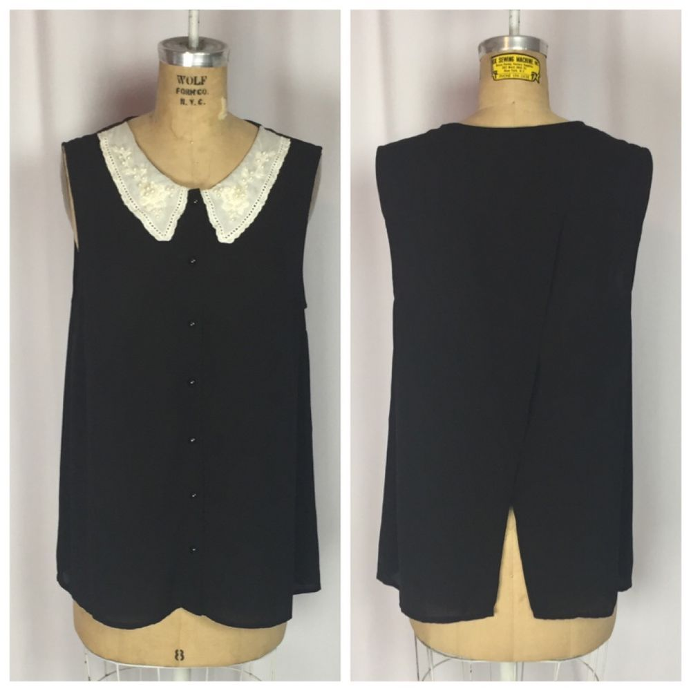 Wednesday Addams Goth Pearl Detail Peter Pan Collar Open Back Top. Large  | eBay