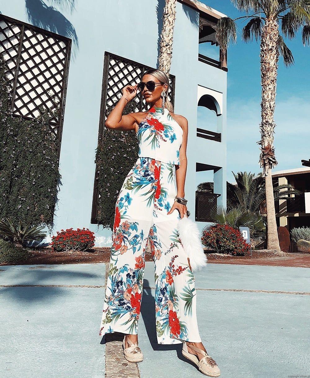 Kombinezon W Kwiaty Szerokie Nogawki Floral Print Jumpsuit Wide Leg Jumpsuit Floral Jumpsuit