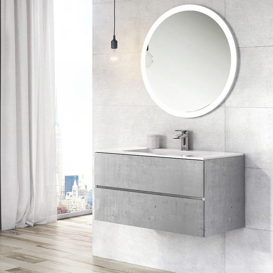 Urban Grey Bathroom Storage Wall Hung Vanity Unit White Resin Basin 90cm Ebay Vanity Units Bathroom Wall Hanging Concrete Bathroom