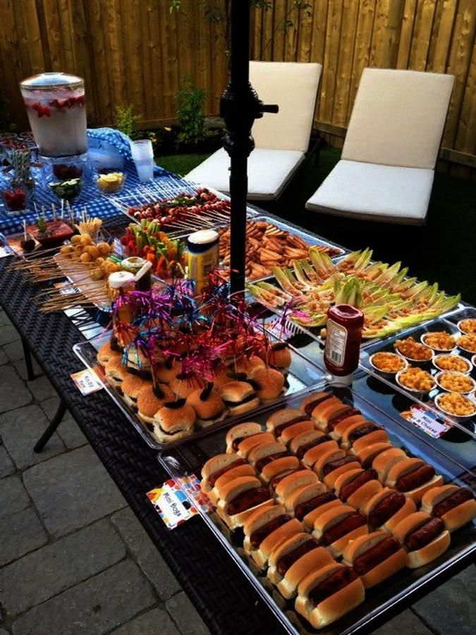 Outdoor bbq i like that all of the food is mini for Picnic food ideas for large groups