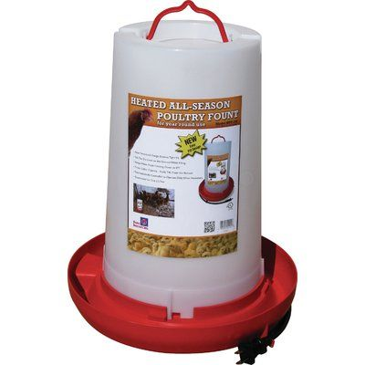 Farm Innovators Heated Plastic Poultry Fount Heated Chicken Waterer Chicken Waterer Chicken Water Heater