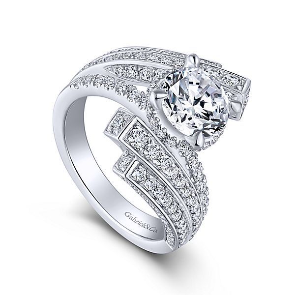 4ad845bac Gabriel & Co Betty Engagement Ring- This cutting-edge 18k White Gold Round  bypass engagement ring features dazzling rows of pave diamonds fanning out  above ...