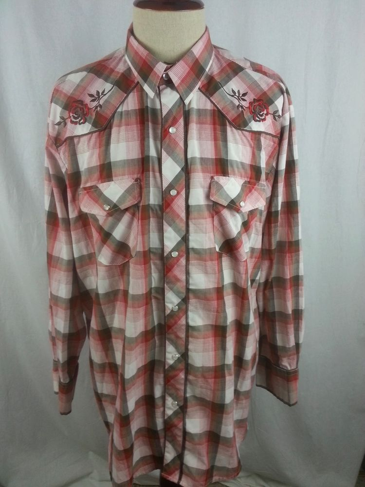 a6e0f753 ROPER Mens Western Pearl Snap Dress Shirt size 2XL XXL Embroidered Floral  Plaid #Roper