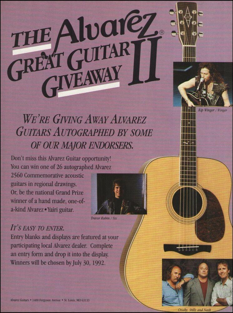 Alvarez Guitar Giveaway advertisement Trevor Rabin Crosby Stills