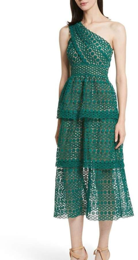 Self Portrait Floral Chain Guipure Dress Green (With ...