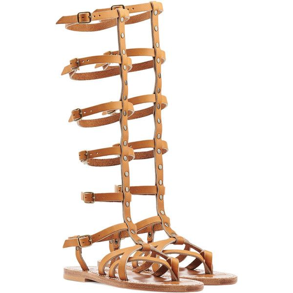 K.Jacques Appiap Leather Sandals ($300) ❤ liked on Polyvore featuring shoes, sandals, camel, strap gladiator sandals, summer shoes, leather strappy sandals, strappy sandals and strappy shoes