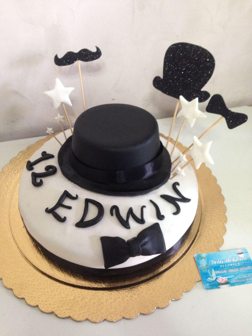 Black and white cake design, bowler hat, papillon , mustache - torta in pasta di zucchero con bombetta, papillon e baffi