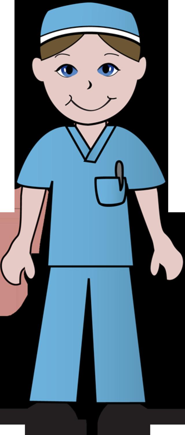 free clip art of doctors and nurses nurse in blue scrubs [ 640 x 1504 Pixel ]