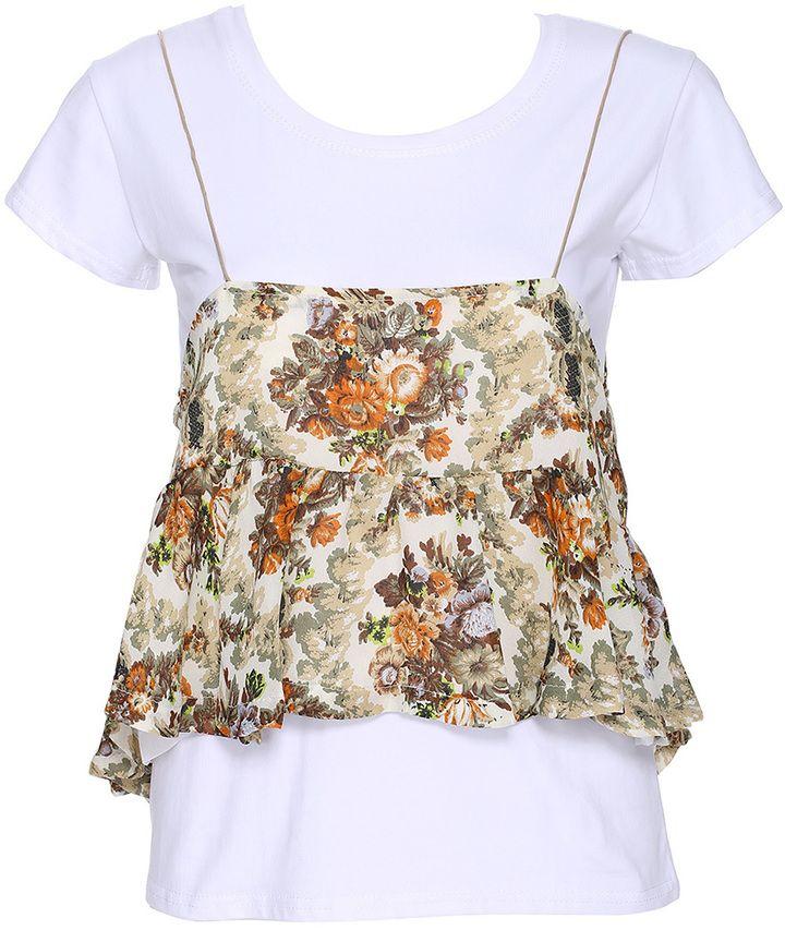 ROMWE Flower Print Short-sleeved White Blouse
