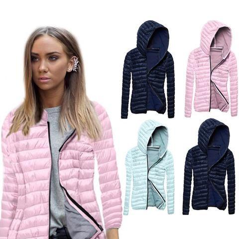 2799758b8 Fashion Winter Women Coat Long Sleeves Solid Color Zipped Outwear ...