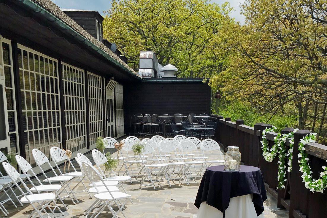 Outdoor Terrace Wedding Setup Big Meadows Lodge